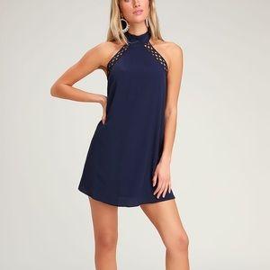 NAVY BLUE LACE HALTER DRESS